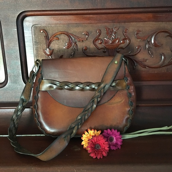 480a698282b2 Free People Handbags - Vintage 60 s 70  s Leather Boho   Festival Satchel